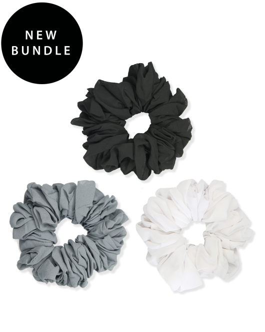 black, white and grey scrunchie bundle picture