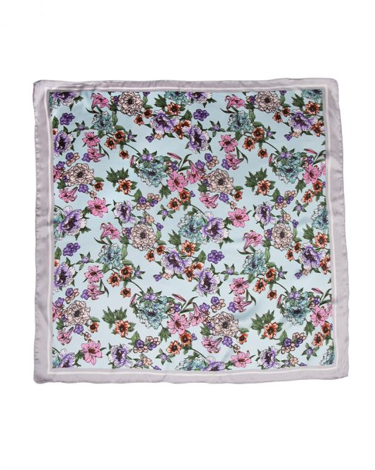 floral silk square scarf in blue