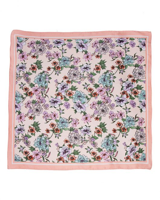 floral silk square scarf in pink
